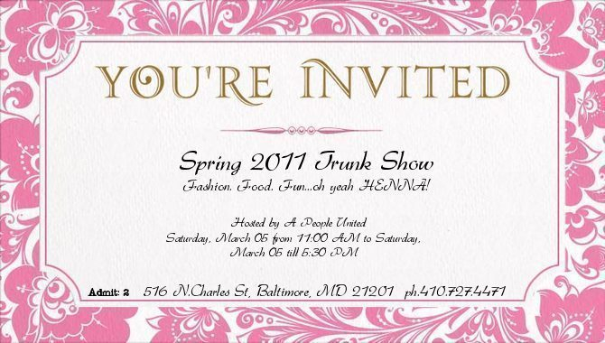 Downtown Baltimore Trunk Show this Saturday Henna Blog Spot