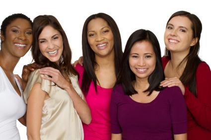 Happy women diverse friends