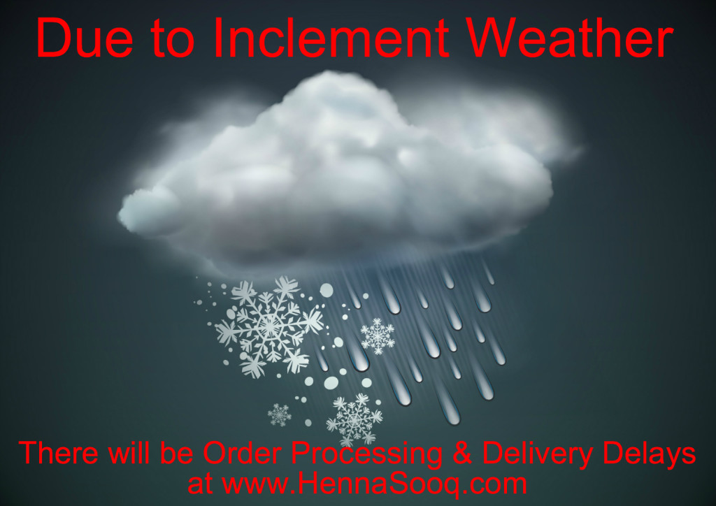 Due to inclement weather there will be order processing amp delivery