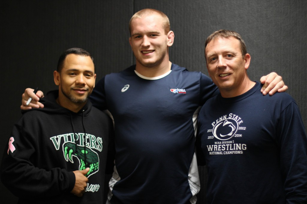Kyle Snyder with Jamal Pender and Brian Leitzel coaches coach wrestling mma bjj olympics 2016