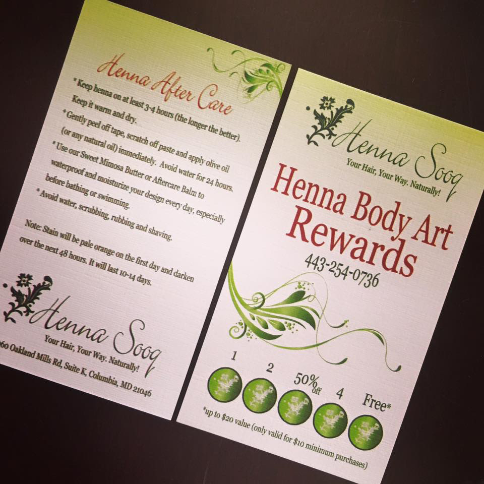 Henna Body Art Rewards Card HennaSooq Columbia Maryland DC henna tattoo hair dye salon beauty services temporary party bridal bride wedding