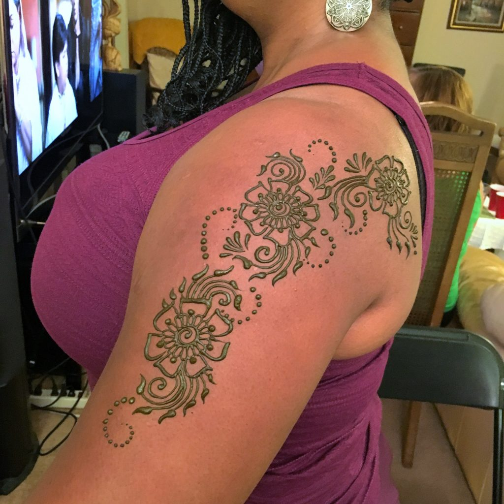 Arm floral shoulder back mandala piece hennasooq maryland dc dmv columbia lanham brandywine laurel tattoo henna
