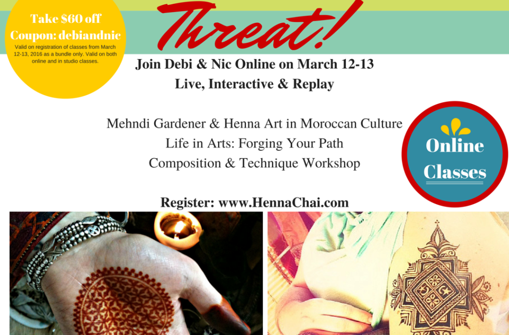March 12-13 Online & Studio Henna Classes with Debi and Nic